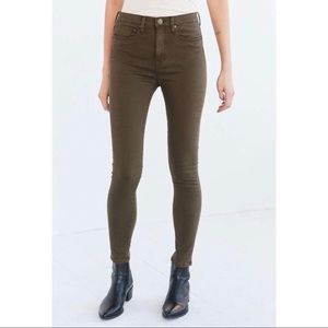 BDG army green mid rise twig ankle jeans